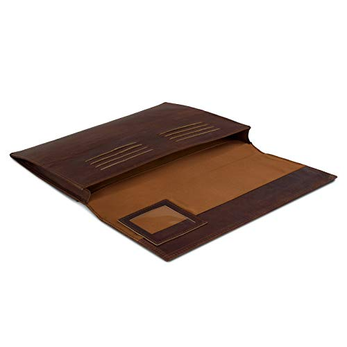 eFabrik Schutzhülle für Huawei MateBook E Ledertasche (passend für MateBook E 12' + Tastatur-Hülle) Schutz Tasche Vintage Hülle Cover Sleeve, Farbe:Cognac Braun - 2