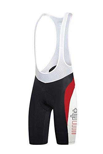 rh+ Space Bib, Pantalone da Ciclismo Uomo, Nero/Bianco/Rosso, S