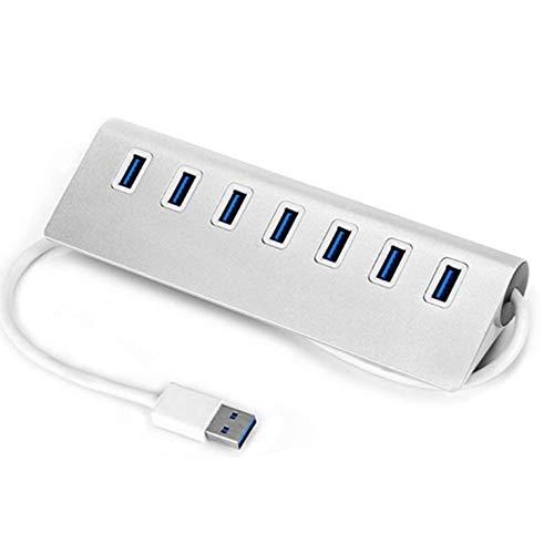 QiKun-Home Hub USB 3.0 Hub de Carga y Datos de Aluminio portátil de 7 Puertos Cable USB 3.0 de 3 pies Hub de aleación de Aluminio portátil Plata