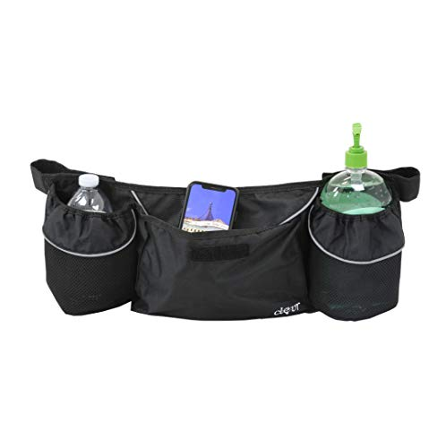 Clevr Velcro Attachable Storage Bag | Cup Holder | Black | Compatible with Clevr Bike Trailer Joggrs