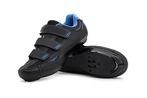 Tommaso Pista Women's Road Bike Cycling Spin Shoe Dual Cleat Compatibility- Black/Blue - 40