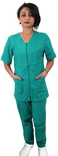 Petersabitidalavoro Conjunto completo de enfermeras de mujer verde con cremallera sanitaria OSS de trabajo para hospital estético Verde XS