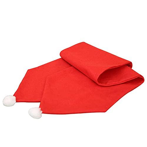 DUO ER Sombrero de Navidad Estilo Tabla Corredor Decoración de Navidad Bandera de Mesa de Color sólido Color de la Borla Decoración del hogar