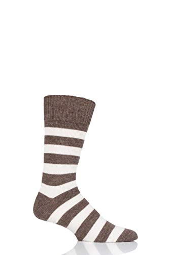 SockShop of London Herren & Damen Gestreift Alpaka Alltägliche Socken Packung mit 1 Ecru/Natürliches Braun 42-44
