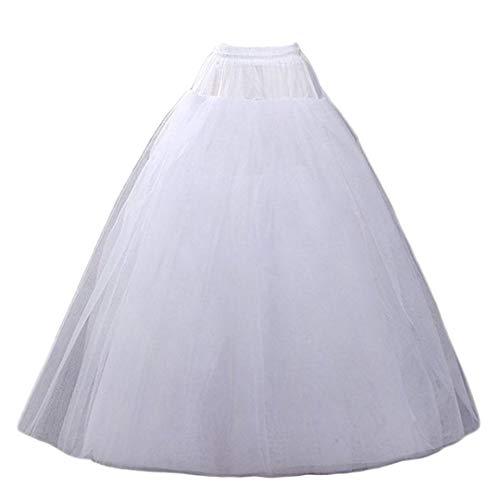 Aprildress Damen Petticoat Unterrock Lang Weiß Tüll Fluffy Crinoline Underskirt für Brautkleid Hochzeit Kleid DE-PPT026