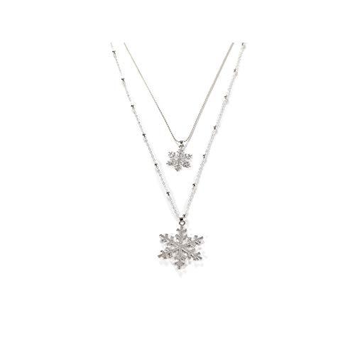 LadyGG Snowflake Winter Christmas Necklace Double-layer Zircon Pendant Geometric Tree Love Choker Chain for Women, Parties, Birthdays, Festivals