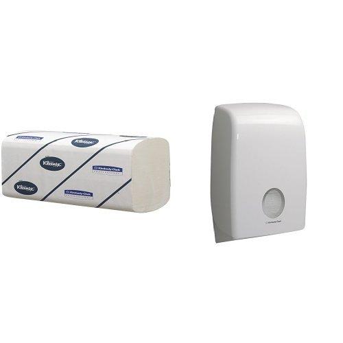 Kleenex 6778 Airflex Ultra weiche Handtücher, Interfolded, 124 Stück pro Karton, 3-lagig, Weiß (15-er Pack) Plus AQUARIUS 6945 Spender für gefaltete Handtücher