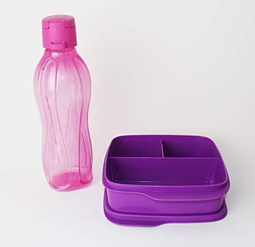 Clevere Pause TUPPERWARE Lunchbox 550ml Fuchsia + EcoEasy Trinkflasche to go 500ml Rosa Clipverschluss + Kiwilöffel