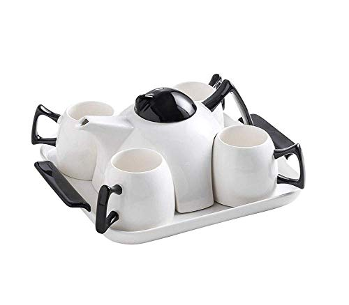 BANANAJOY Tetera, Nórdico Taza de té Juego de té de cerámica Creativa Simple clásico Blanco y Negro Tonos de la Sala de Estar Juego de té,