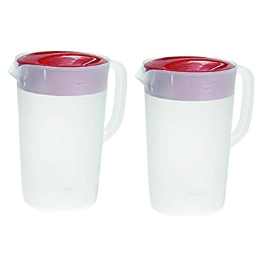 Rubbermaid 711717429960 Gallon Covered Pitcher 1 Gallon (Set of 2), kkkk, White