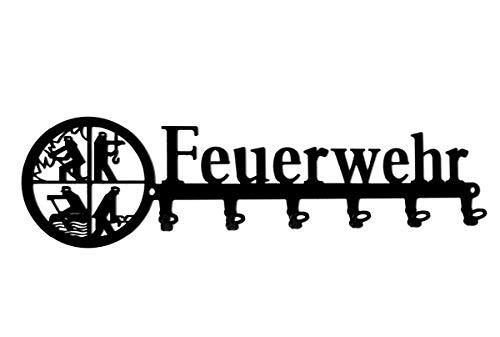 steelprint.de Schlüsselbrett/Hakenleiste * Feuerwehr * - Schlüsselboard Retten Löschen Bergen Schützen, Schlüsselleiste, Metall - 6 Haken