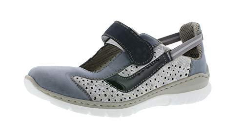 Rieker L32R7 Damen Slipper,Schlüpfschuh,Slip-on,modisch,Freizeitschuh,adria/silverflower/12,38 EU / 5 UK