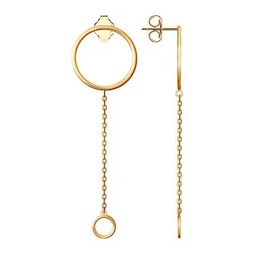 SOKOLOV Jewelry dames oorbellen zilver 925 verguld I oorbellen lang zilver 6,1 cm met ring boven Ø 18 mm - ring onderaan Ø 7 mm I chique zilveren oorbellen verguld I Exclusief designer damessieraad