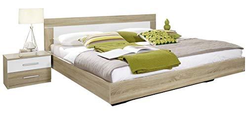 Rauch Möbel Venlo Bett Doppelbett mit 2 Nachttischen, Eiche Sonoma / Weiß, Liegefläche 180x200 cm, Stellmaß Bett-Anlage inklusive Nachttische BxHxT 285x83x205 cm