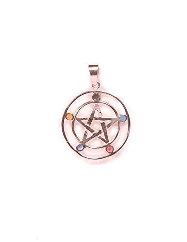 Pendentif Pentagramme ésotherme ou étoile à cinq pointes en argent 925.