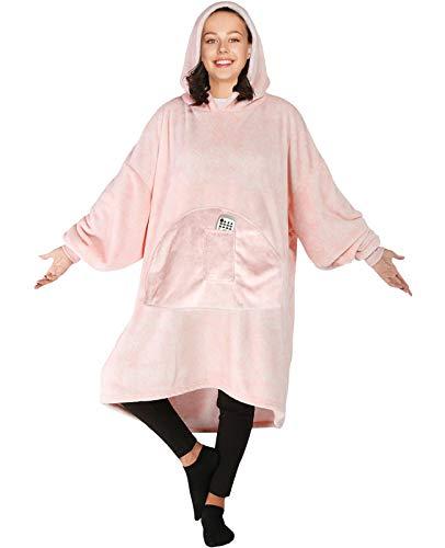 sigando Blanket Hoodie Übergroße tragbare Decke-Soft Warm Giant Fronttasche für Erwachsene (Pulver)
