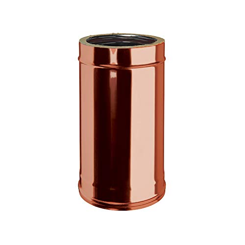 Tubo 0,5 mt Doppia Parete Interno Acciaio Inox Esterno Rame Naturale per Canna Fumaria Esterna Coibentata DN 80/130 mm