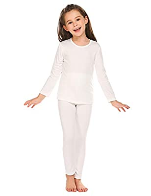 luxilooks Girls' Long Johns Thermal Underwear Longjohns Ski Base Layer Winter Base Layering Set for 4-5 Years,White by