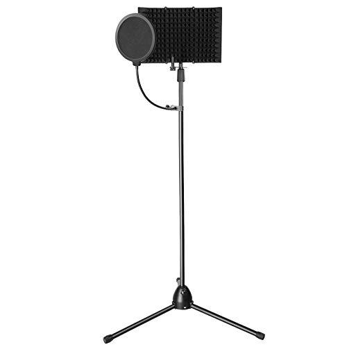 AGPTEK Bouclier d'isolation de Microphone avec un Support Pied, Kit d'enregistrement pour Microphone de Studio avec Support de Fixation Ajustable et Filtre Anti-pop