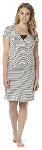 Noppies Damen Umstands Nachthemd Dress mit Stillfunktion, Gestreift, Gr. 44 (Herstellergröße: XXL), Mehrfarbig (Dark Blue C165)