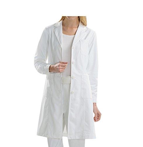 BSTT Donna Camice da Laboratorio Bianca Abbigliamento da Lavoro e Divise Nuovo miglioramento Manicotti con Bottoni Sottile S
