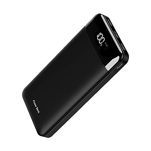 【2020最新型&25000mAh&3個LCDライト】モバイルバッテリー 大容量 PSE認証済 搭載 2入力ポート(Micro USB/Type-C) LCD残量表示 3USB出力ポート 最大2.4A出力 三台同時充電 スマホ充電器 携帯充電器 iPhone/iPad/Android各種に対応 旅行/出張/防災に大活躍 (黑)