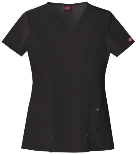 Dickies Xtreme Stretch V-cuello Scrubs Camisa Mujer, Negro, L