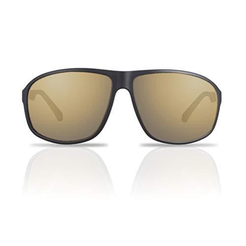 fawova Piloten Sonnenbrille Herren Polarisiert Schwarz, Oversize Pilotenbrille Herren 62mm, 100% UV400, Cat.3 (Schwarz, schwarzgoldener Spiegel)
