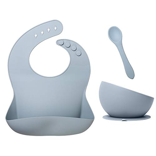 Set de vajilla infantil en silicona 3 piezas incluye babero bebé en silicona + plato con ventosa + cuchara. Libre de BPA. Apto para microondas y lavavajillas.