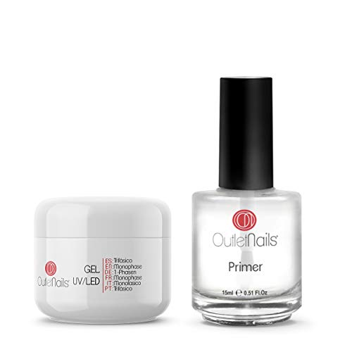UV Gel Trifasico 3en1 15ml + Primer 15ml sin acido | Para uñas de gel de Outlet Nails