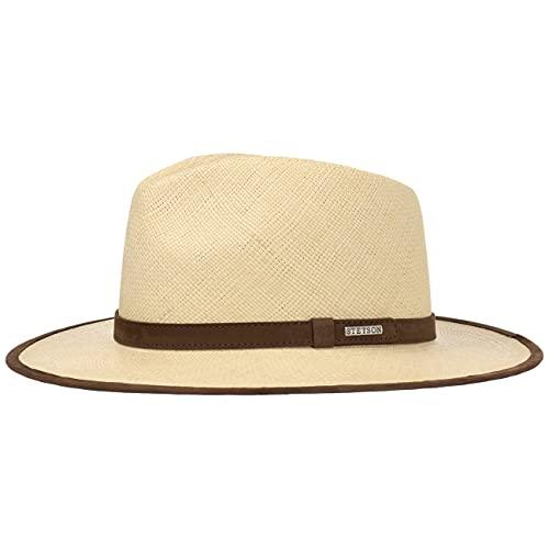 Stetson Sombrero Panama Braid Hombre - Made in Ecuador de Panamá Playa con Banda Piel, Ribete Primavera/Verano - XL (60-61 cm) Natural