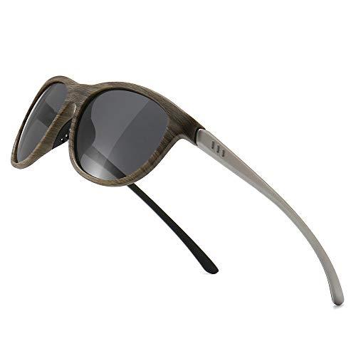SUNGAIT Ligeras y Irrompibles Gafas de Sol con Lentes Polarizadas Gafas de UV-protección Vendimias(Lente Gris Polarizada/Marco de Grano Madera)
