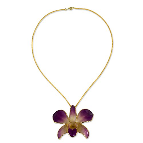 NOVICA 24k Gold Plated Pink and Purple Natural Orchid Flower Pendant Necklace 'Orchid Fantasy'