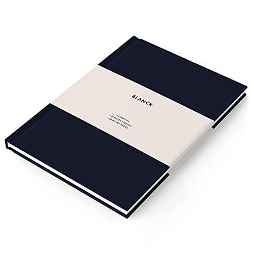 BLANCK – Libreta A5 Premium – Tapa Dura – Encuadernación de Lujo de Lona – Papel Sueco Grueso 100g – 140 Páginas en Blanco – Cuaderno Gran Formato 15 x 21 cm – Bullet Journal – Notebook