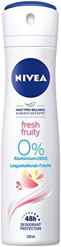 NIVEA Deo Spray Fresh Fruity (150 ml) Deo ohne Aluminium (ACH) für Damen, frisches 48h Deodorant mit antibakteriellem Schutz