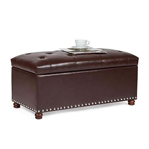 "Joveco Storage Ottoman Bench 35"" Faux-Leather Rectangular Tufted Ottomans Toy Chests & Storage Room Organizer (Chocolate Brown)"