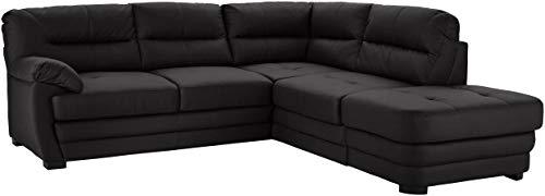 Mivano Ecksofa Royale / Zeitloses L-Form-Sofa mit Schlaffunktion, kleinem Bettkasten, Ottomane und hohen Rückenlehnen / 246 x 90 x 230 / Lederoptik, schwarz