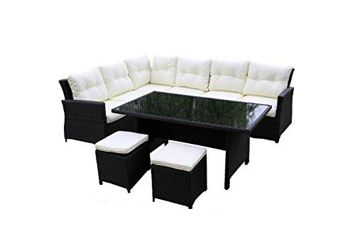 Salon de jardin Aluminium 8 places, mobilier de jardin, banquette avec table de jardin beige