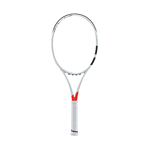 "Babolat 2017 Pure Strike 16x19 Orange/White Tennis Racquet (4 3/8"" Grip) Strung with Natural Color String (A True Player's Stick)"
