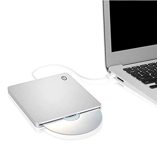 Ploveyy External CD DVD Drive USB Ultra-Slim Portable CD DVD RW/DVD CD ROM Burner/Writer/Superdrive with High Speed Data Transfer for Mac MacBook Pro/Air iMac Laptop (Silver)