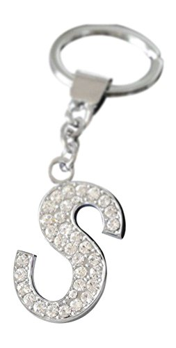 Alphabet Keyring A-Z Initials Letter Key Ring Shiny Silver Key Chain (S)
