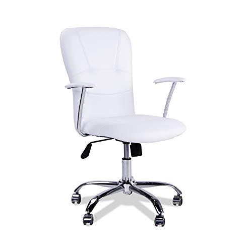 Adec - Silla de Oficina Giratoria Despacho Escritorio Estudio con Brazos Modelo Maggie, Simil Piel Color Blanco, Medidas. 58 X 55 X 106 Cm