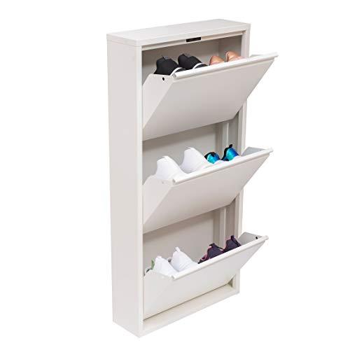 Mabel Home Modern Shoe Cabinet, Shoe Rack Storage Organizer, (White) (3 &4 Tier) (3 Tier)
