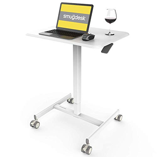 Mobile Sit-Stand Desk Adjustable Height Laptop Desk Cart Ergonomic Table Small Standing Desk with Pneumatic Height Adjustments, White