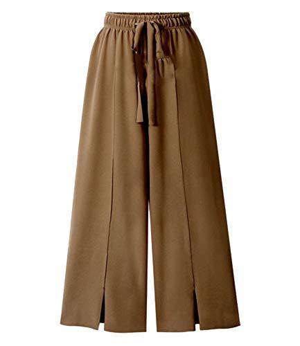 Wenchuang Damen Lose Weites Bein Hose Elastische Taille Palazzo Hose Hosenrock Freizeithose Große Größe Braun 3XL