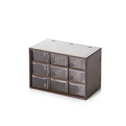 LSJZF Caja Ewelry Almacenamiento, Portátiles De Plástico 9 De Celosía Mini Armarios...