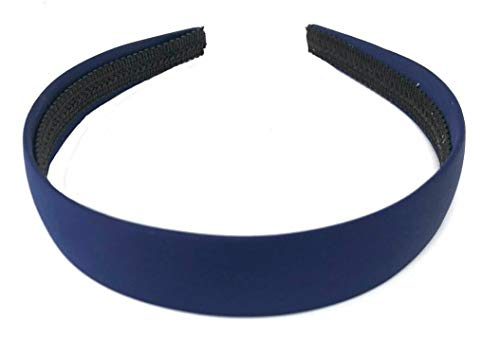 Serre-tête recouvert de satin bleu marine 2,5 cm de large