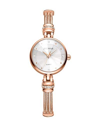 Reloj Fino Mujer Niña Cuarzo Analógico Esfera Cristal Estrellado Correa de Acero Inoxidable Reloj Redondo Reloj Resistente al Agua Ultrafino Elegante Oro Rosa