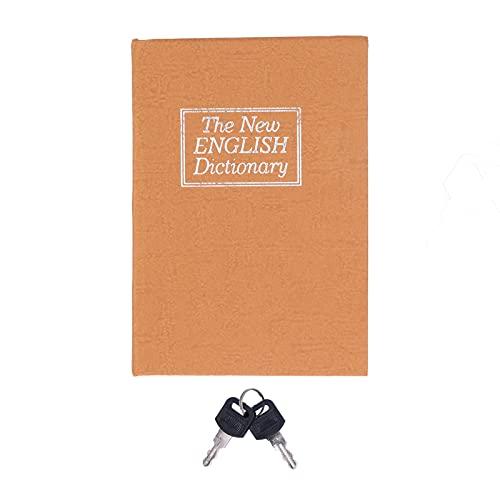 Caja fuerte para libros con cerradura de llave, caja de seguridad pequeña, caja de seguridad para esconder dinero, caja fuerte para libros de desviación de 4.5x3.1x1.8 pulgadas(amarillo)