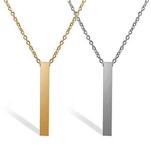 JewelryWe Schmuck 2pcs Personalisiert Gravur Edelstahl Poliert Stereo-Rechteck Quader Anhänger Halskette mit 20 Zoll Kette für Herren Damen, Silber/Gold
